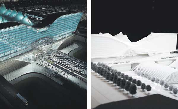 Modified design, left and Calatrava original, right (The Denver Post)