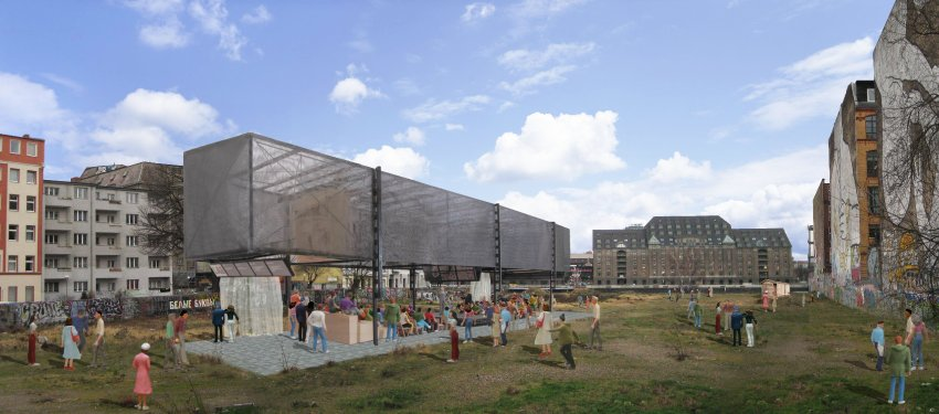 Conceptual Rendering of BMW-Guggenheim Lab in Kreuzberg Vacant Lot