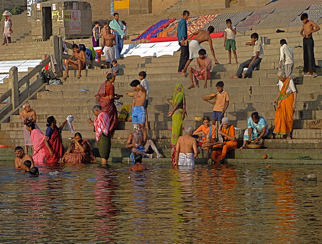 Ritual Bathing in the Ganges River, India