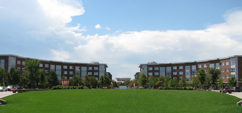Stapleton's Crescent Flats and Public Green, looking toward 29th Avenue (Dean Saitta)