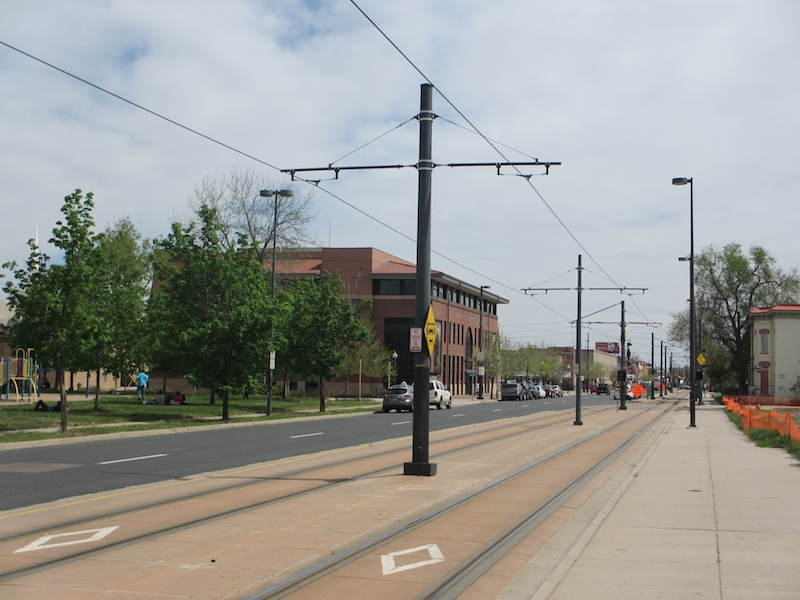 """Downtown"" Five Points. The Blair-Caldwell African American Research Library is at left-center; Light Rail line is to the right (D. Saitta)"