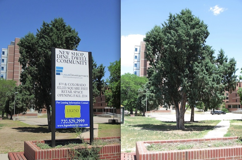 Left: Fuqua Development Sign (29 May 2012); Right: Who's Next?? (22 June 2013). Photos by D. Saitta
