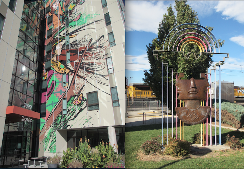 """La Alma de la Mariposa"" Mural by Jeremy Ulibarri (left) and ""Mestizaje"" sculpture by Emanuel Martinez (right), Mariposa Development, Denver (D.Saitta)"