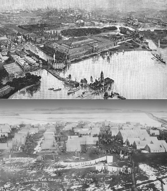 Top: Chicago's White City; Bottom: Colorado's White City (Wikimedia Commons)