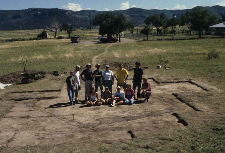 Coal Field War Project Staff and Students within Excavated Tent Location, 1998 (photograph courtesy of Colorado Coal Field War Project)